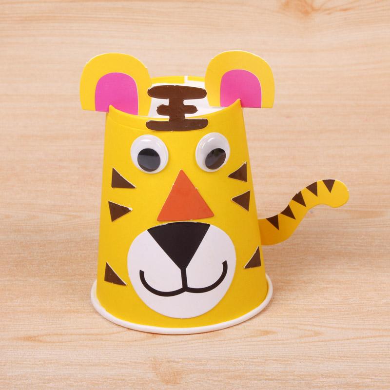 十二生肖动物纸杯diy材料包 儿童手工材料制作黏贴益智玩